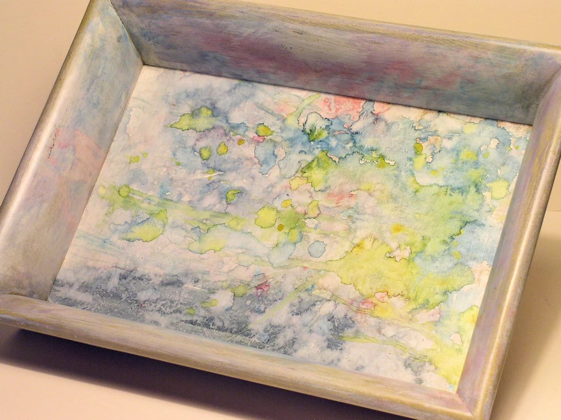 Original Painting Watercolor Abstract Vintage Frame Wood Tray