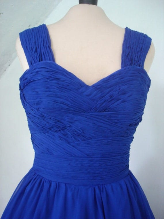 A 50s vintage style cocktail dress rockability in royal blue chiffon
