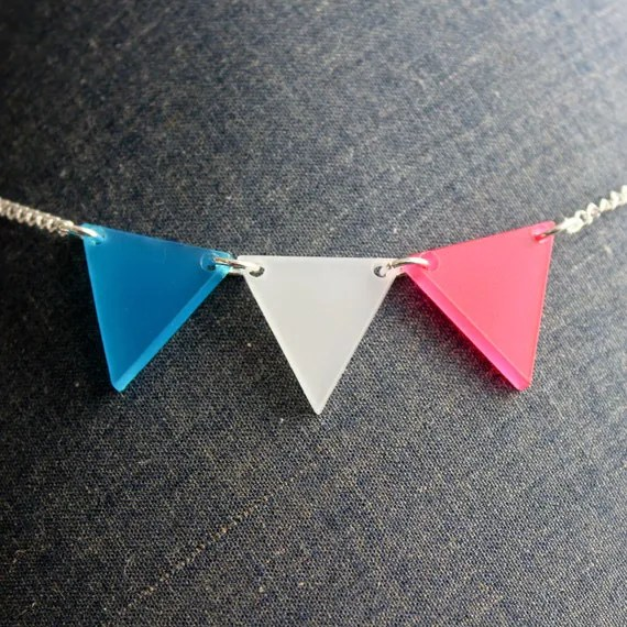 Pink, White, and Blue Bunting Necklace