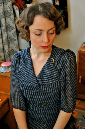 Cora- Mid- 1930s inspired butterfly-sleeved silk dress with bakelite button