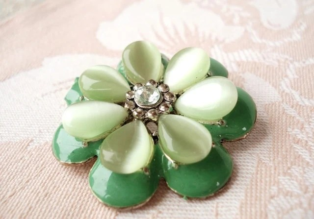 Vintage Light Green Enamel & Moonglow Flower Brooch - Layered - 1970 - Very Pretty