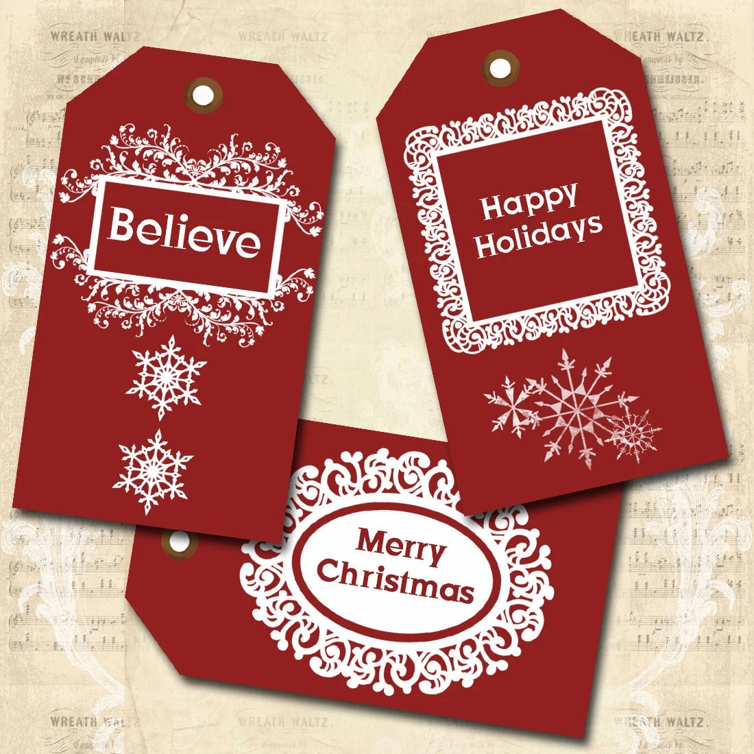 "Digital Collage Sheet - ""Red and White Christmas Tags"" - Gift Tags, Hang Tags - Download & Print"