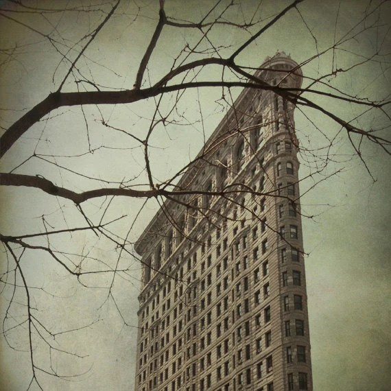 NYC photo print 8x8 new york city landmark historic flatiron building gray gloomy beige olive fine art home decor renaissance beaux-arts