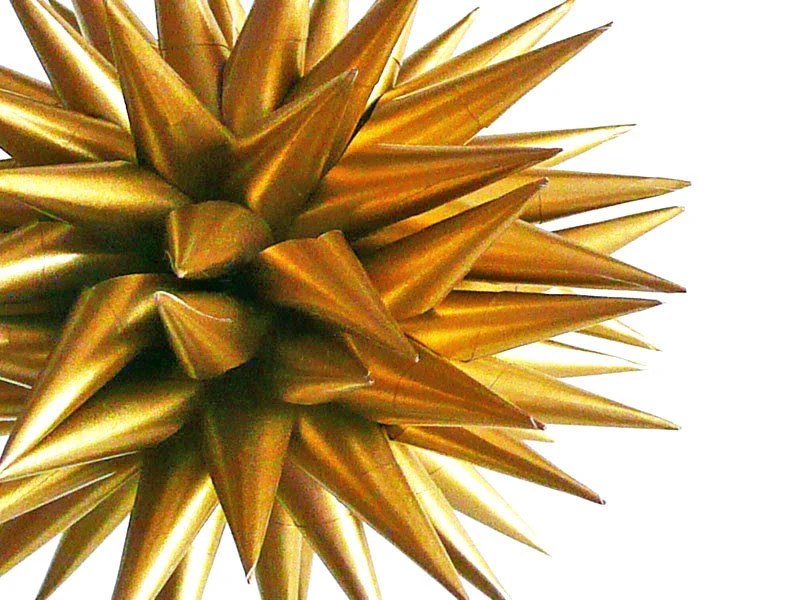 Christmas Decoration Satin Gold Star Urchin Folk Art Ornament Paper Decorative Polish Porcupine Ball - 4 inch