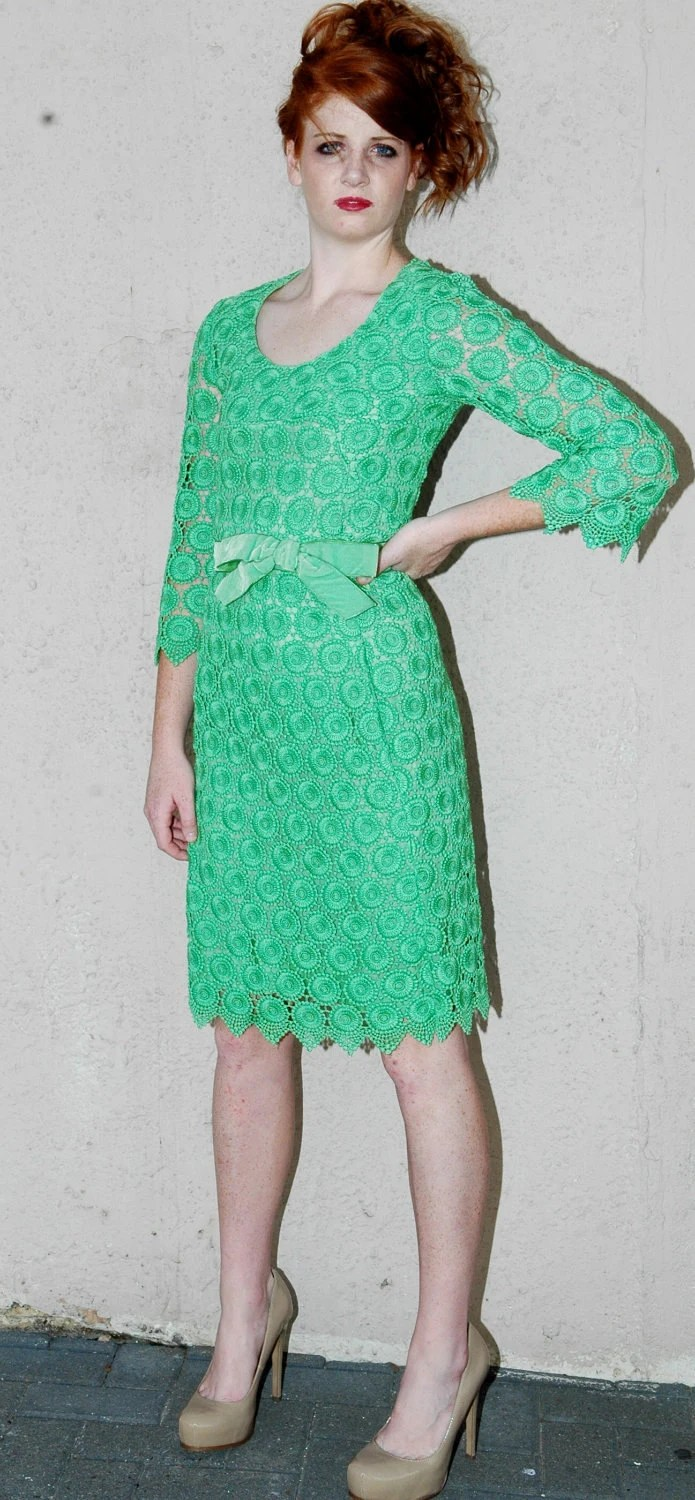 Vtg Apple Green Floral Crochet Dress and Cashmere Wool Wrap