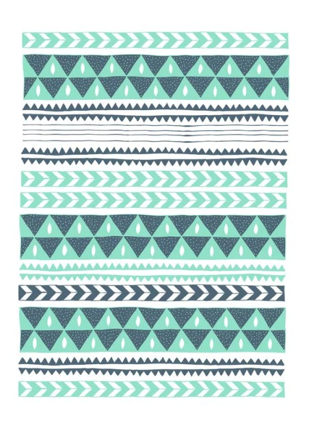 Winter Stripe Chevron and Triangle Illustration 8x11 Print