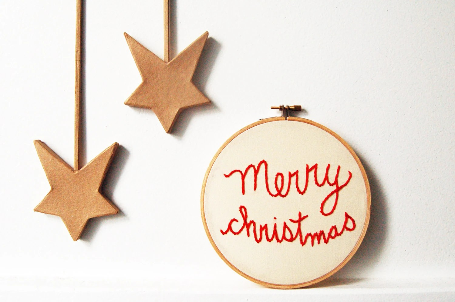 "Embroidered Hoop ""Merry Christmas"". 6 inch. Holiday Decor. By merriweathercouncil on Etsy"