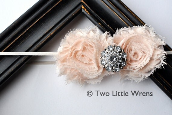 Zoe Luxe Holiday or Christmas Flower Headband - Glittering Ivory Flowers with Jewel Center - Baby Headband to Adult Headband
