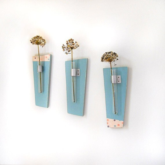 Flower Vase Test Tubes SKY: modern wood wall mount retro teal blue polka dots