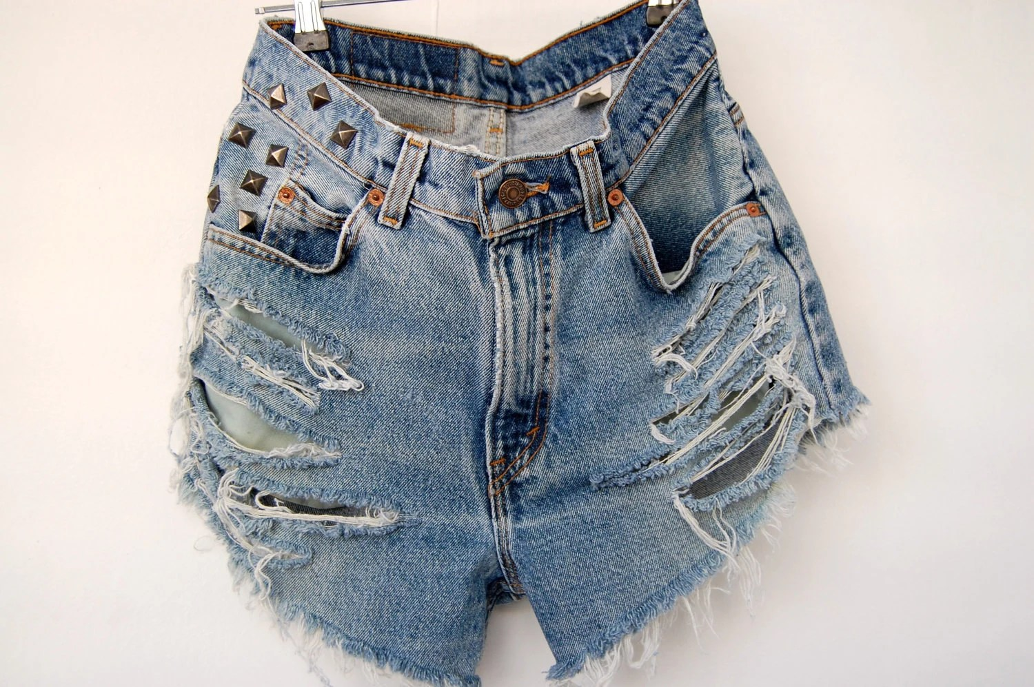 distressed vintage studded levis cut offs