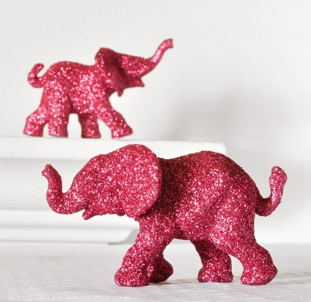 Hot Pink Elephants in Magenta Glitter for Entertaining, Valentines Day Table Settings, Fuchsia Nursery Decor or Repurposed Decorations