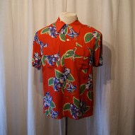 Vintage 1940's Hawaiian red rayon floral print button front shirt Aloha by Mele Kaikimaka  rockabilly WWII - size XL