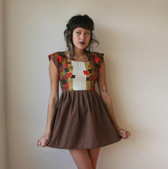 Rusty Cuts Geometric Print Red and Brown Mini Dress Sz S and L