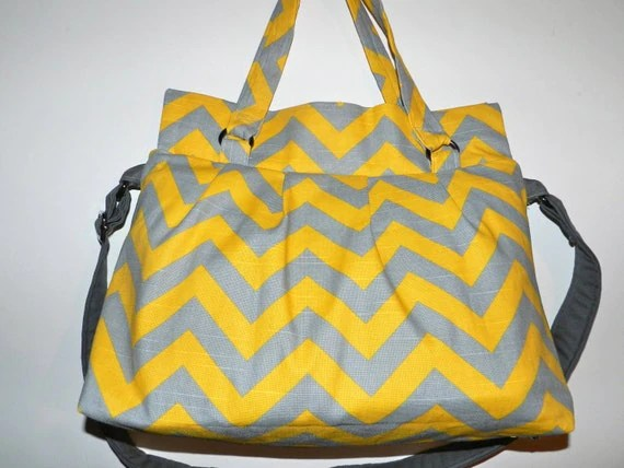 Digital Camera Bag  Dslr..... with messenger strap SLR camera purse,Yellow and Gray Chevron Print by Darby Mack