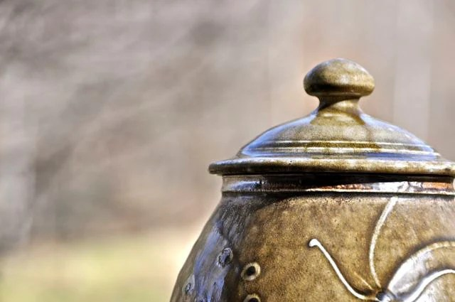 Sweet Lidded Stoneware Jar