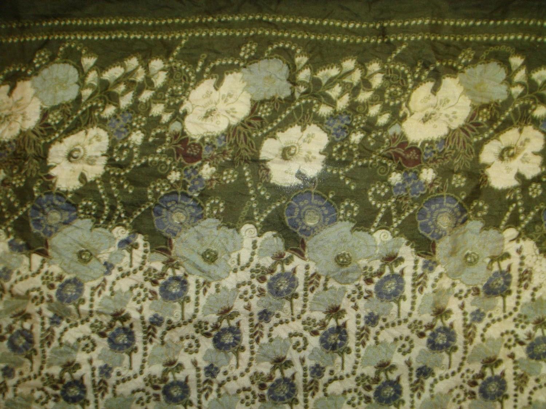 Beautiful  Floral Print  Recycled sari  pure silk scarf (22x68)