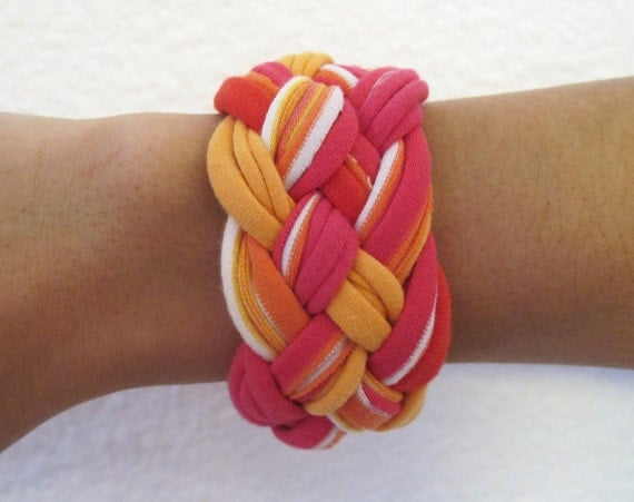 Multi-Color Braided T-Shirt Bracelet - Eco Friendly
