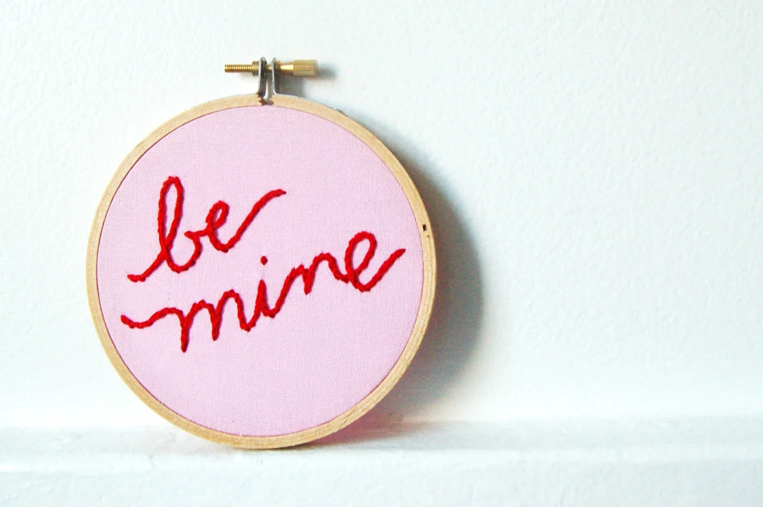 Valentine's Day Message Hand Embroidery in 4 inch Hoop. Be Mine. Red and Pink.  By merriweathercouncil on Etsy