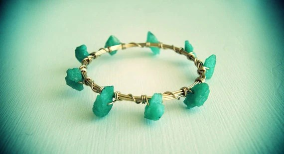 Rustic Emerald Bangle by Carolina Benoit