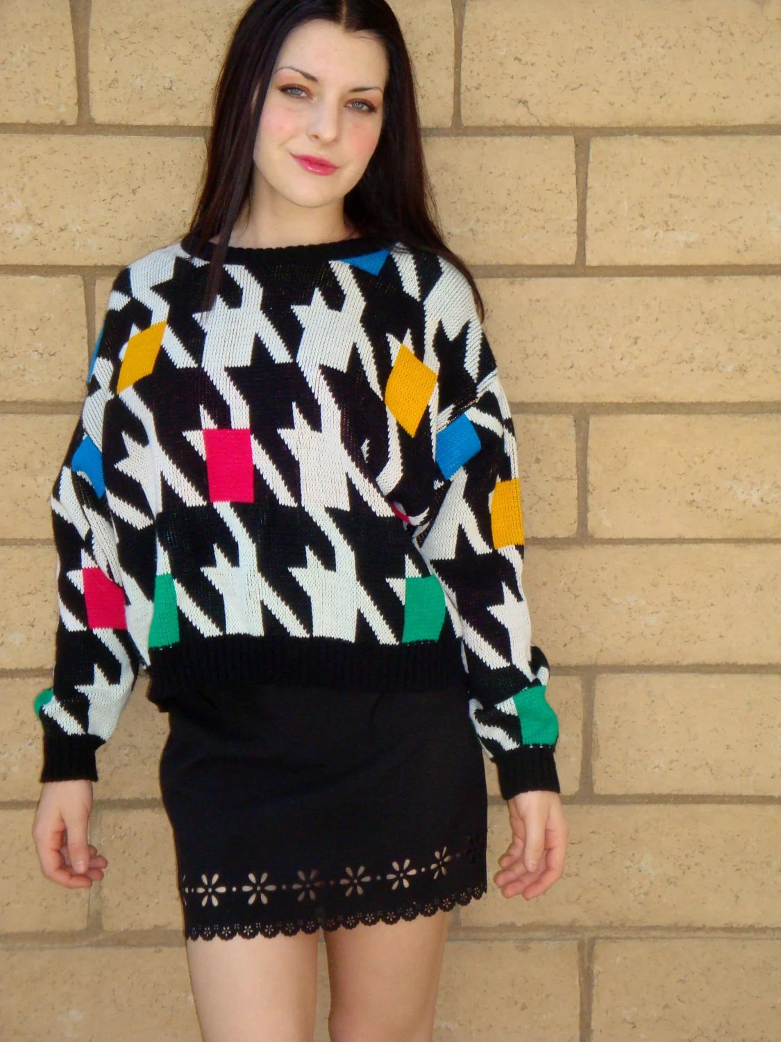 Vintage 80s Awesome Geometric Color Block Houndstooth Sweater M L
