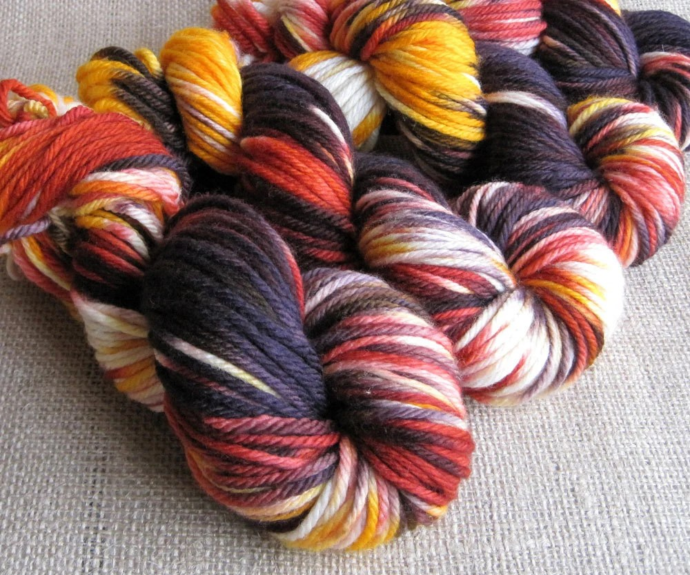 Zombie Sunset - Superwash Merino Bulky Yarn - Hand Dyed - 137 yds