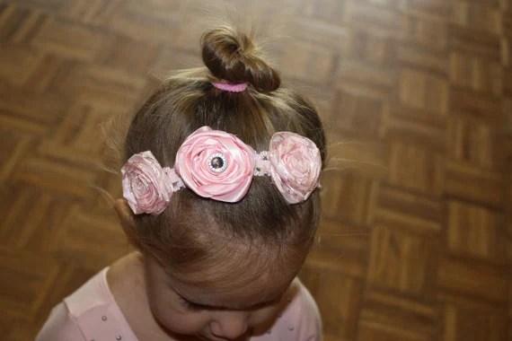 Pink Ribbon Rose Headband - toddler/child
