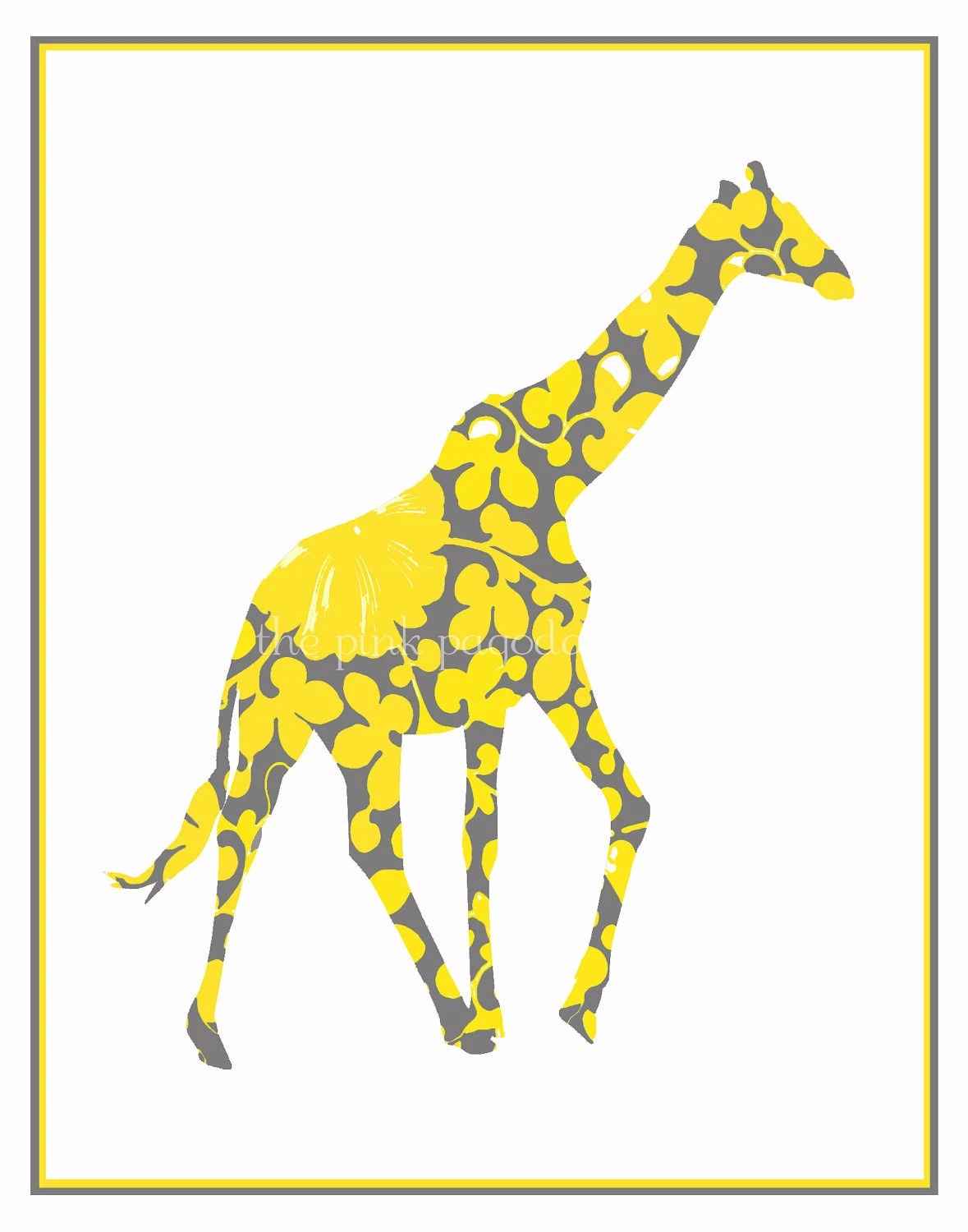Yellow and Gray Giraffe Giclee 11x14