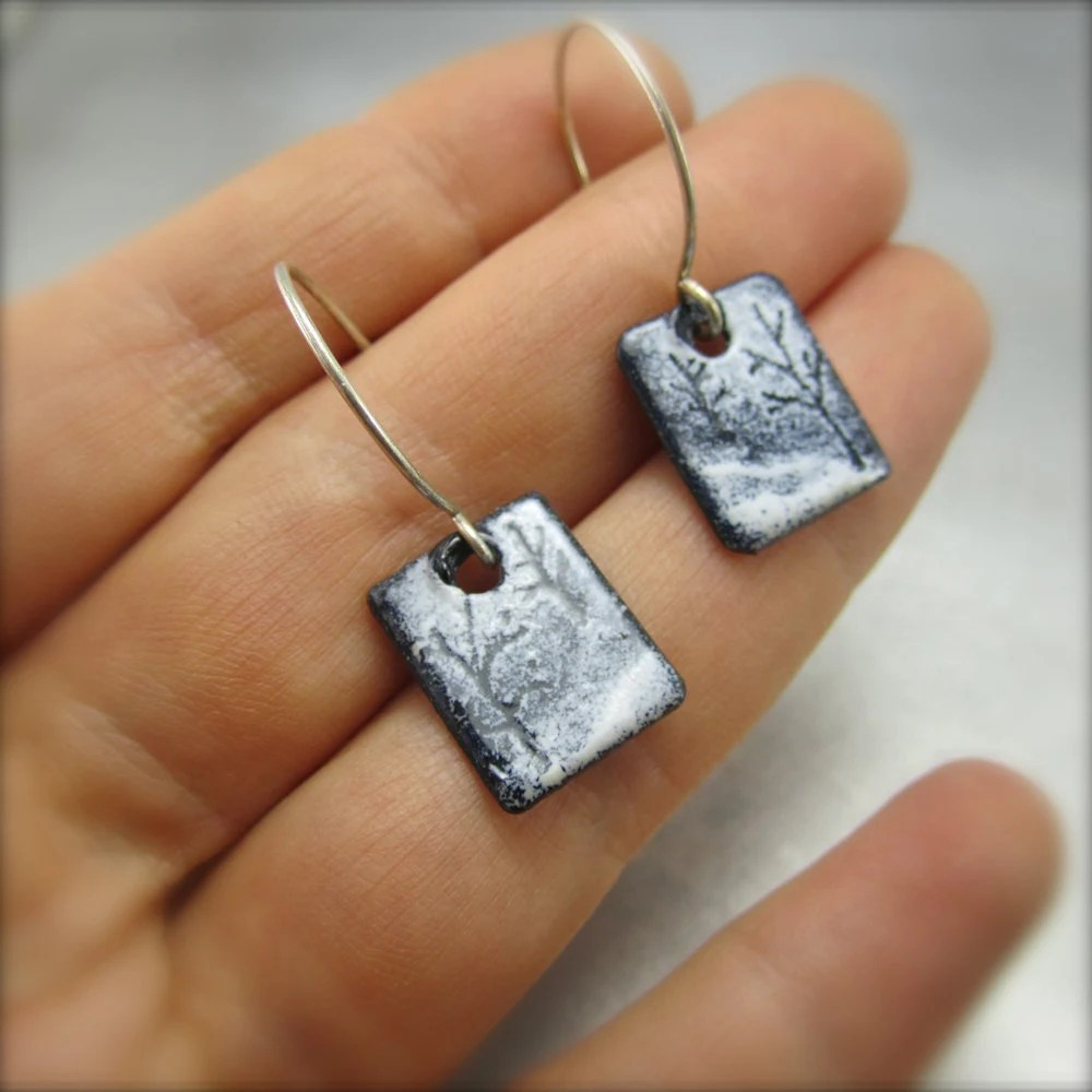 Enameled Tandem Blizzard Tree Earrings by Beth Millner