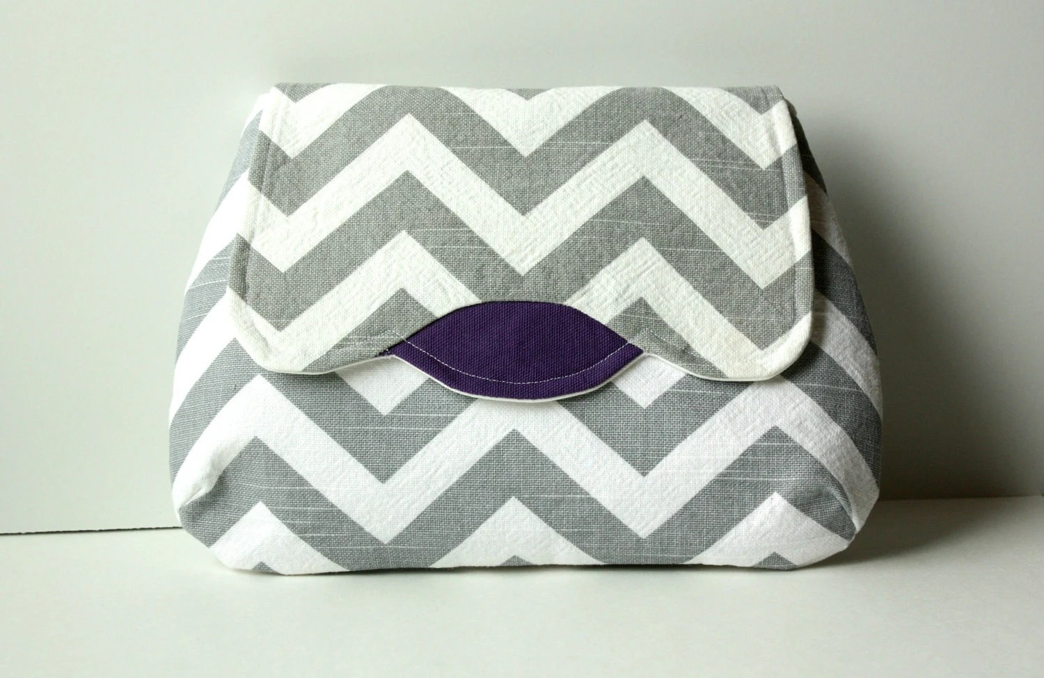 Luna Clutch grey chevron and purple