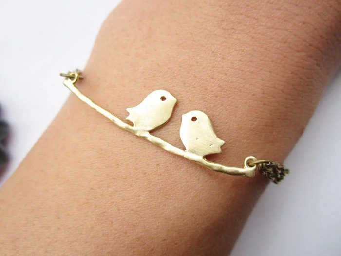 lover bracelet---golden love birds on the branch pendant love bracelet  & antique bronze chain