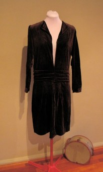 1920s Dress Chocolate Velvet With Smocking and Matching Hat