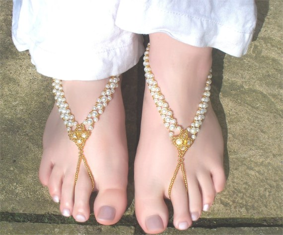 White and Gold Barefoot Sandals / Slave Anklets 3 Sizes Available - ShimmeringBlue
