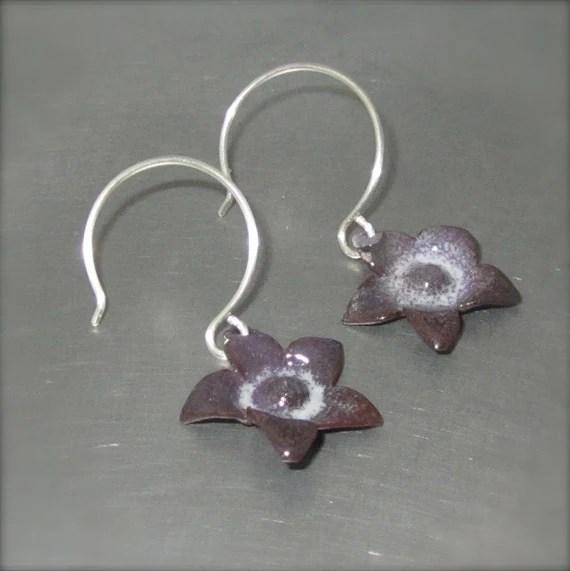 Enameled Purple Starflower Earrings - By Beth Millner