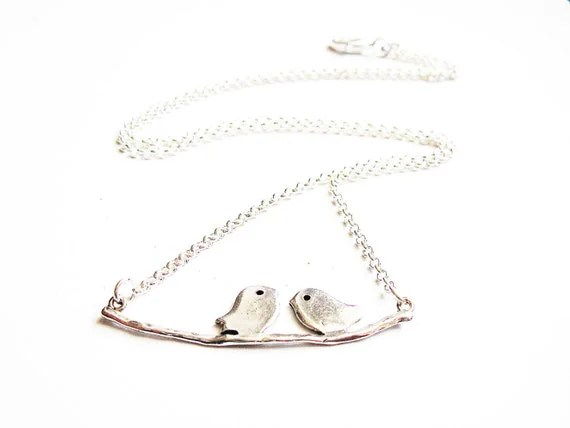 Birds on a Branch Necklace, Bird Branch Necklace, Love Birds Necklace, lovebirds, sparrow, birds jewelry, silver pendant, plain chain