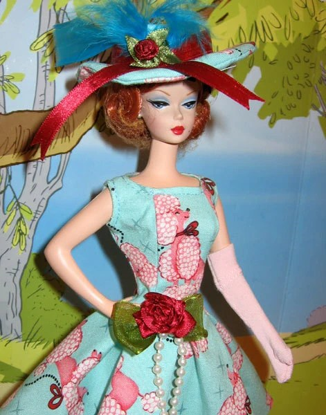 Barbie Retro vintage Style OOAK  Pink  French  Poodle turquoise Casual Sundress, Hat & Gloves  for Silkstone Dolls