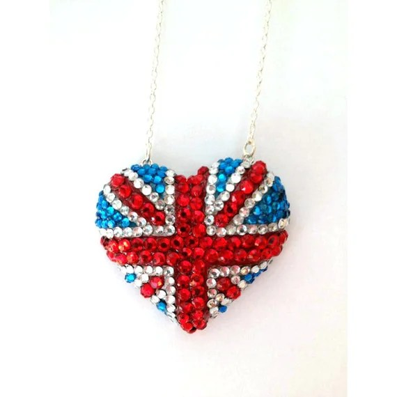 "Union Jack Crystal Heart Pendant - ""Blighty"" - Diamond Jubilee Edition"