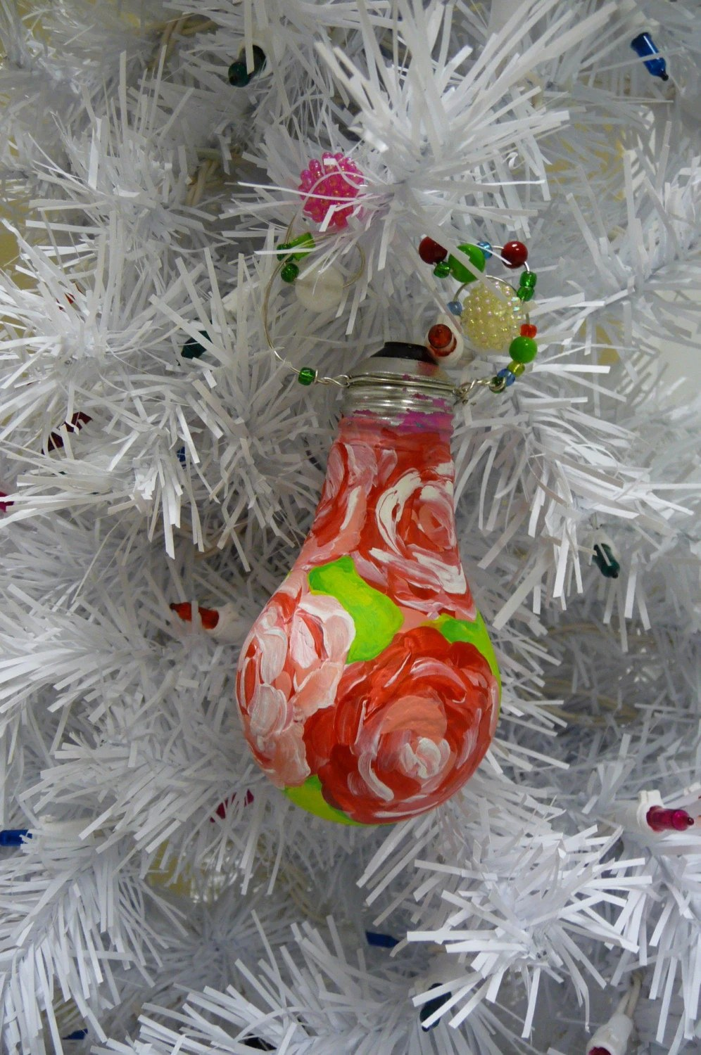Pink Roses Christmas Ornament Upcycled