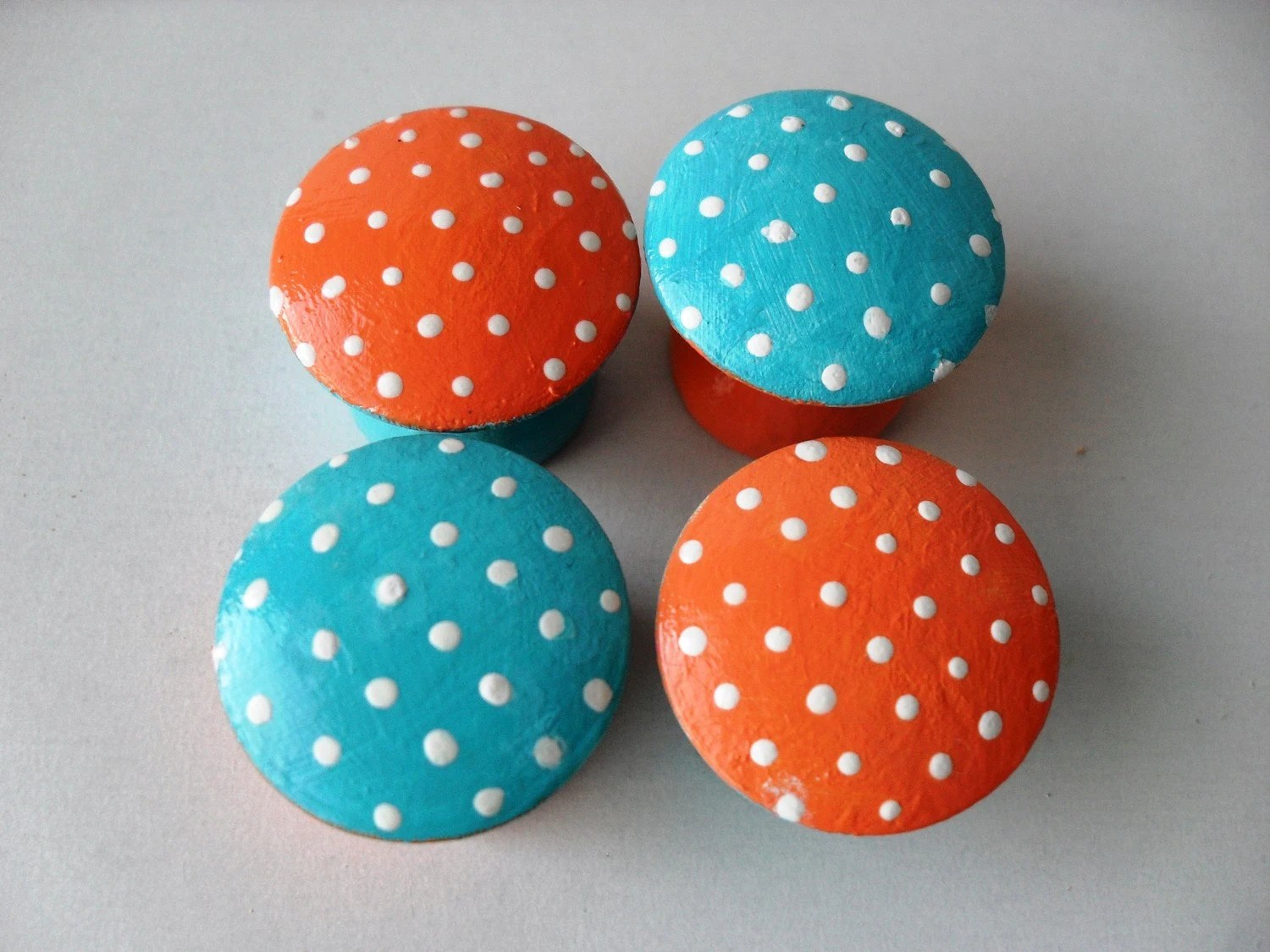 Set of 4 Hand Painted 1-inch Wooden Knobs