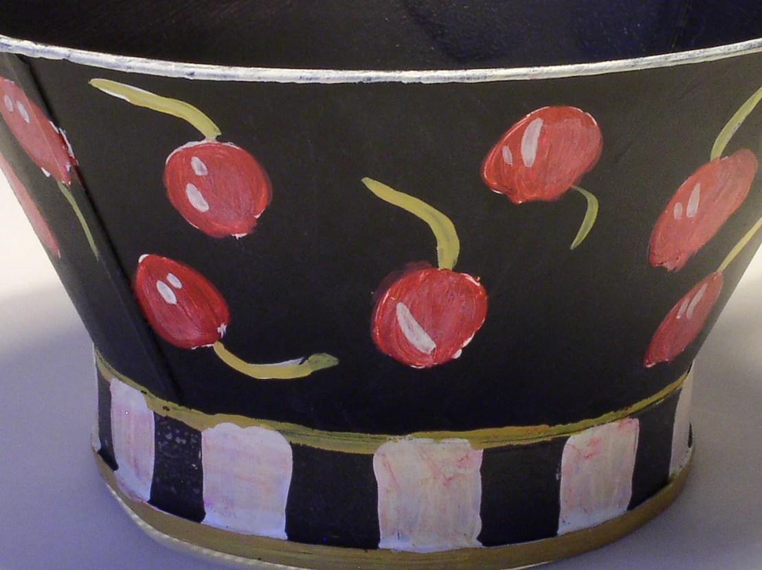 Painted Vintage Sifter Metal Bowl Cherries Checkerboard