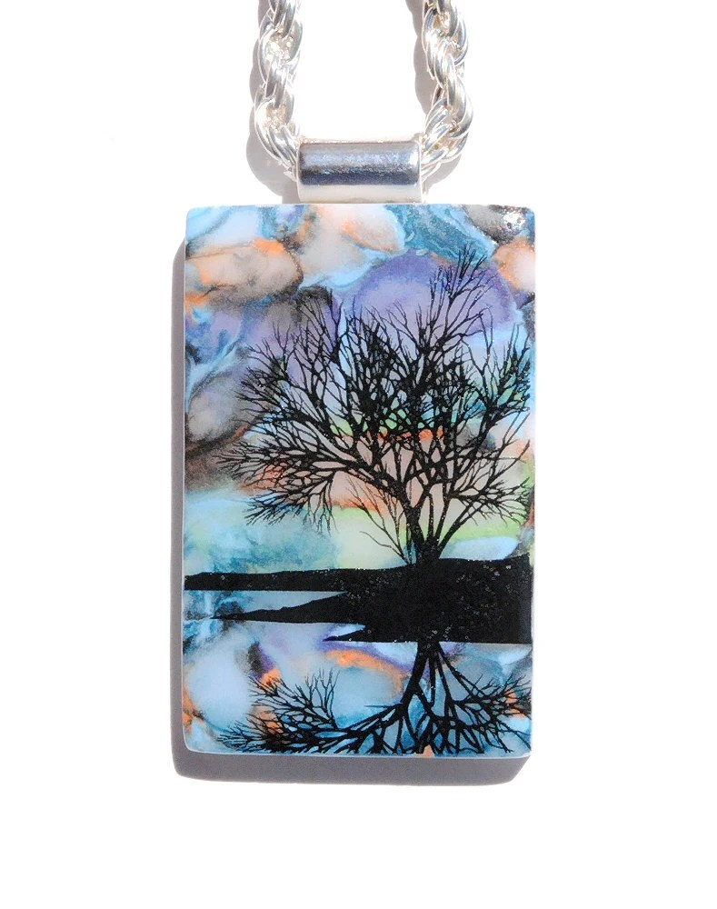 Reflections Image Pendant - Fused Glass Jewelry, Sunset Pond Tree Silhouette, Nature Outdoors, Glass Paints (Item 10388-P)