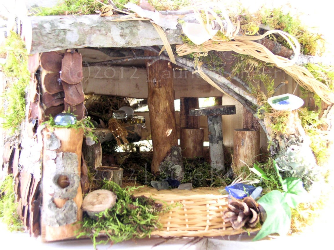 Woodland Fairy House with Wicker Accents