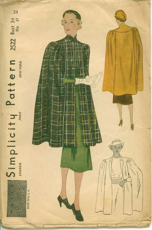 1930s cape pattern, Simplicity 2522