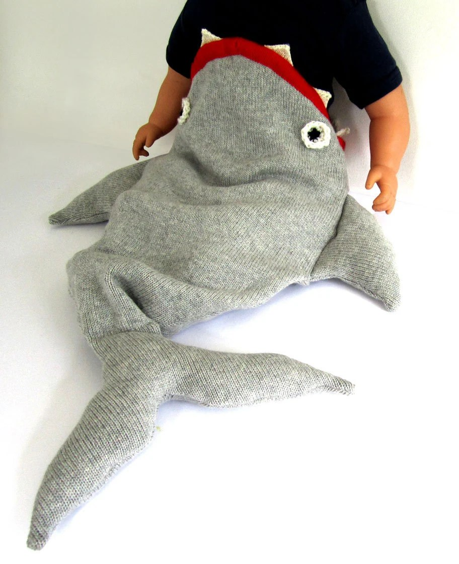 Handmade Knitted Baby Shark Sleeping Bag - The Miniature Knit Shop