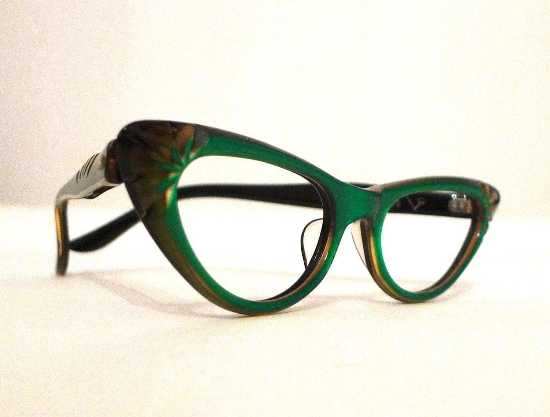 Emerald Green Carved Horn Rimmed Cat Eye Frames, Mad Men Eyeglasses