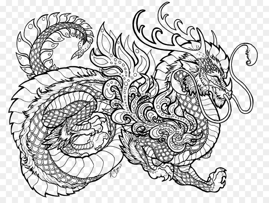 Livre De Coloriage Mandala Dragon Chinois De LEnfant Dragon