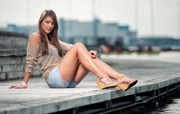 Sitting Girl Hair Beach Long Blonde