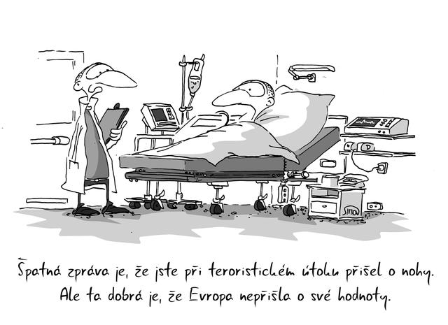 Kreslený vtip: Špatná zpráva je, že jste při teroristickém útoku přišel o nohy. Ale ta dobrá je, že Evropa nepřišla o své hodnoty. Autor: Marek Simon