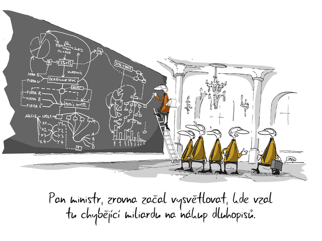 Kreslený vtip: Pan ministr zrovna začal vysvětlovat, kde vzal tu chybějící miliardu na nákup dluhopisů. Autor: Marek Simon