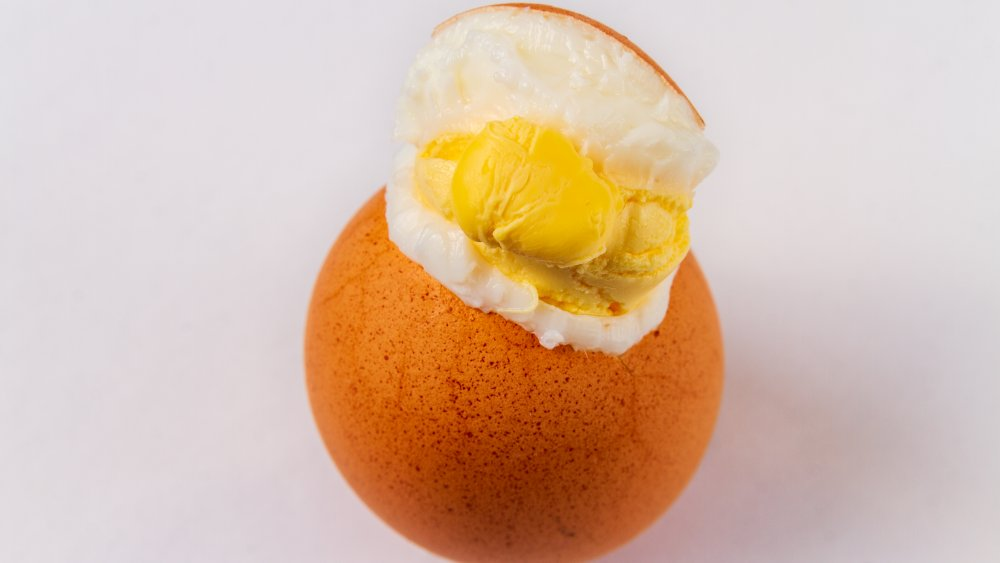 never microwave whole hard boiled eggs