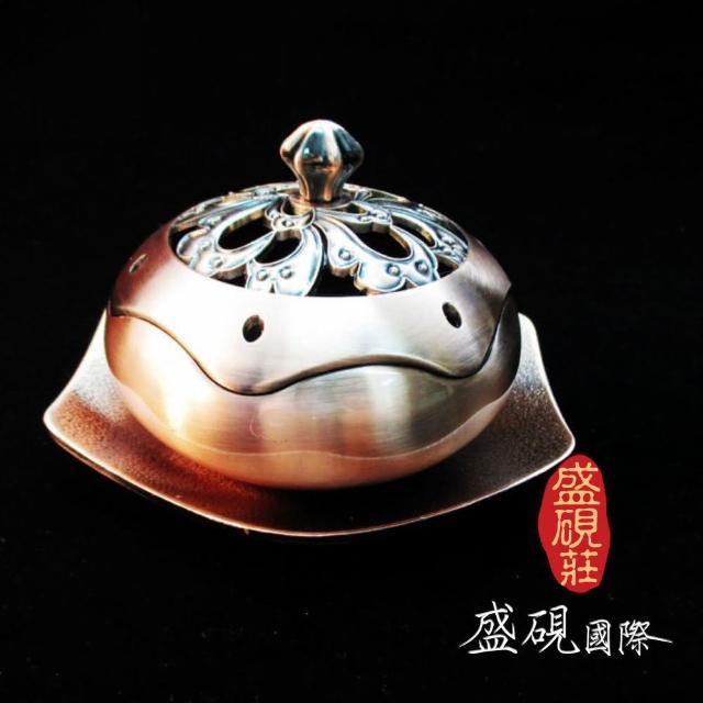 【盛硯莊佛教文物】設計師芙蓉紅銅花香爐(吉祥寶物香爐)